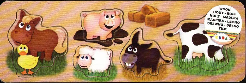 Puzzelplankje  Boerderij dieren