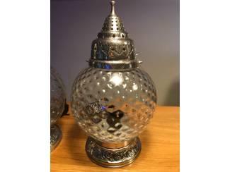 2 tafellampen | glas met zilverlook