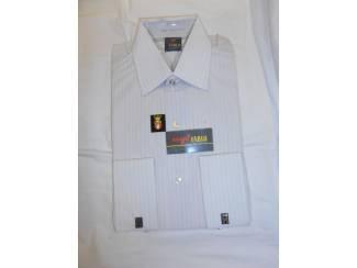 Vintage overhemd Fablo Nylon wit met verticale streep maat 37