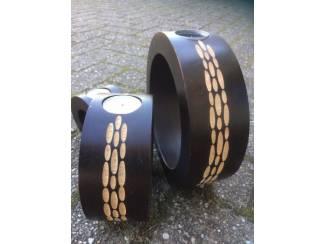 Woonaccessoires   Kandelaars en Kaarsen 3 in 1 houten waxinelichtjes houder