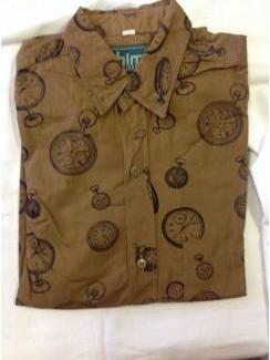 Vintage overhemd Him bruin maat S
