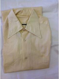 Vintage overhemd creme/geel punt boord maat geschat 37/38