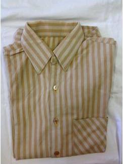 Vintage overhemd bruine streep maat geschat 37/38