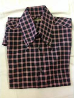 Vintage overhemd  v.d. Heijden ruitmotief boord breed en met