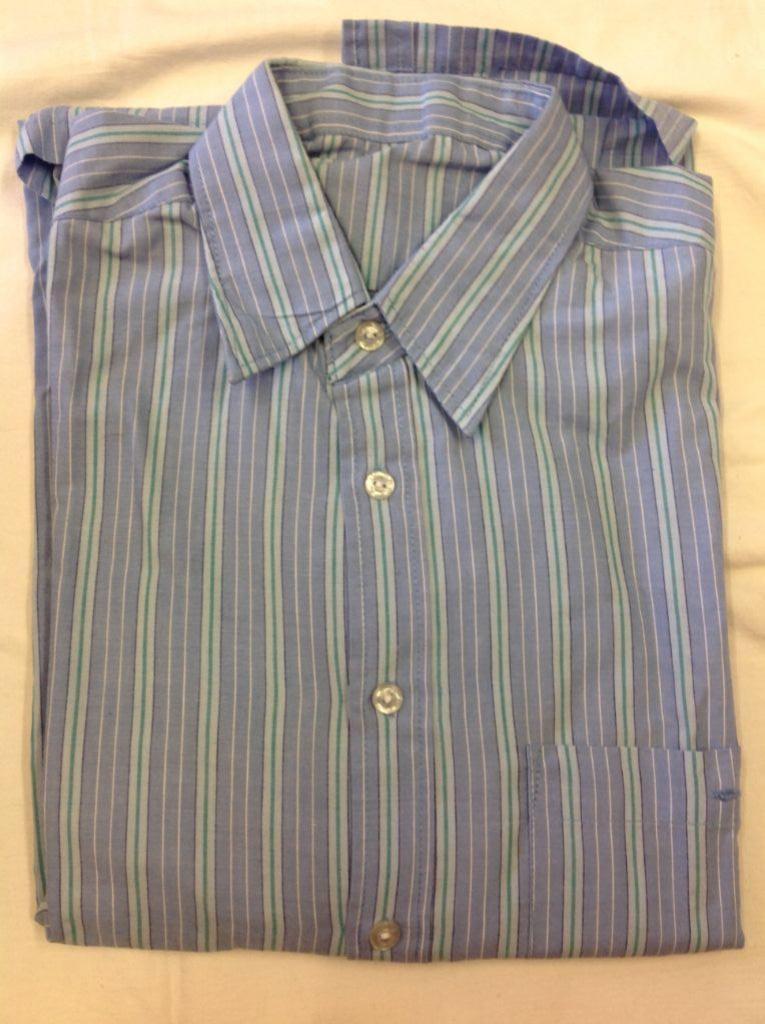 Vintage overhemd merk ontbreekt; blauwe strepen maat geschat 36