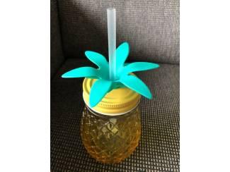 Drinkglas ananas met vast rietje ( cocktail of sap glas)