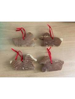 4 houten decoratie eendjes met lint . Eend anti mot