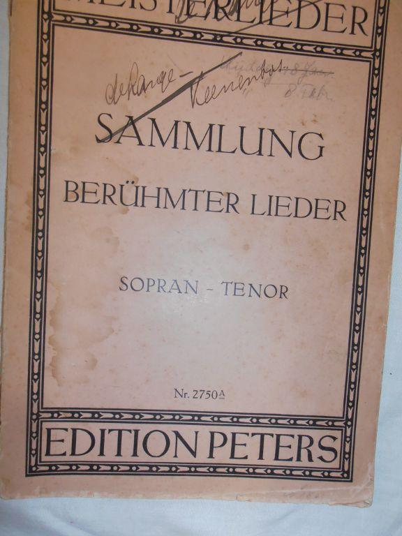 Bladmuziek 25. Sammlung berümter Lieder. Sopran – Tenor.