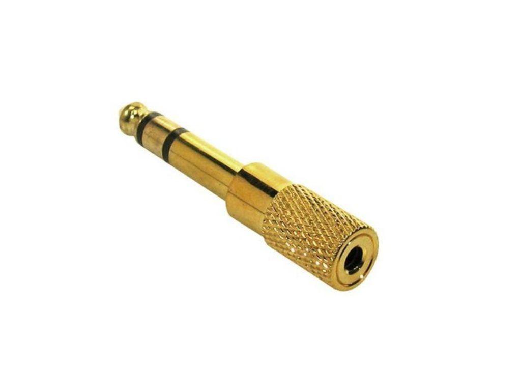 Adaptor / verloop stereo mini jack-jack, goud