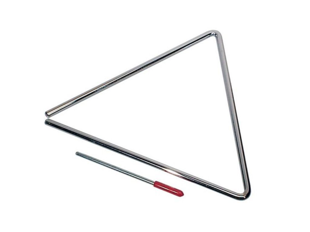 "8"" triangel, verchroomd, met klopper, diameter: 8 mm"