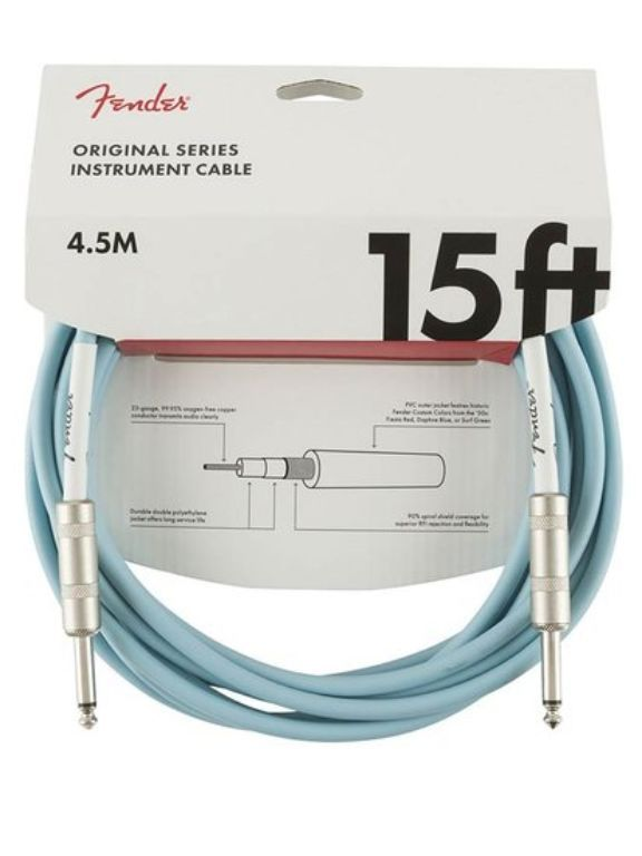 Fender Original Series instrument cable, 15 ft, Daphne Blue